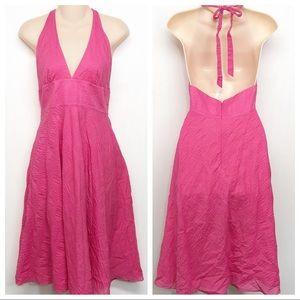 J. Crew Seersucker Halter Pink Cotton Summer Dress